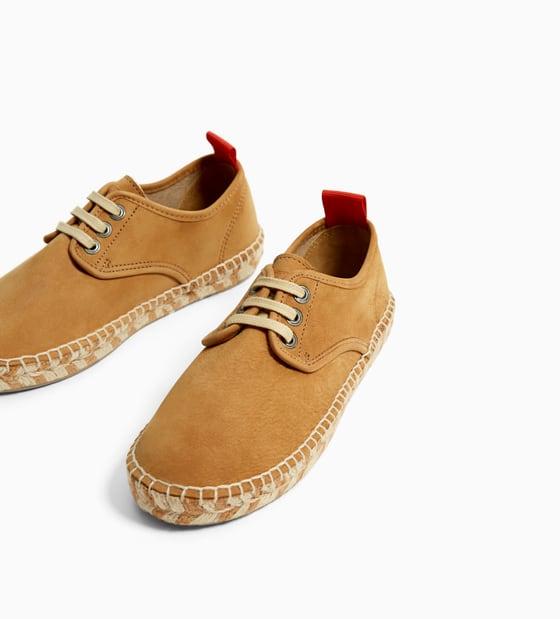 Zara leather and jute espadrilles