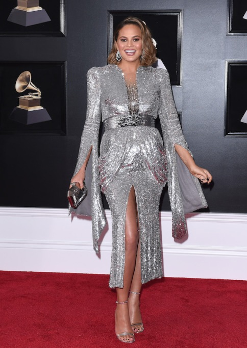 Chrissy Teigen on the 60th Annual Grammys red carpet