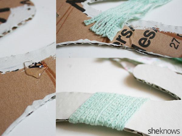 DIY nursery letter art: Step 5 glue yarn