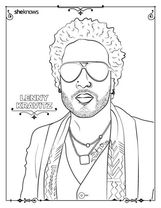 Lenny Kravitz coloring book page