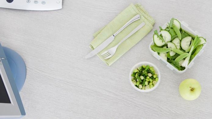 Salad on office desk