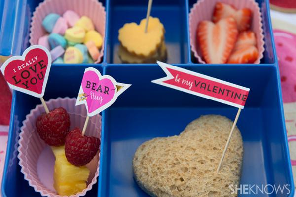 Valentine's Day-themed bento boxes for kids