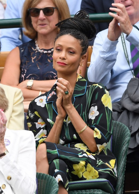 Thandie Newton attends day 12 of the Wimbledon Tennis Championships at the All England Lawn Tennis and Croquet Club