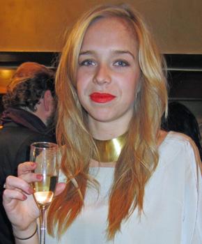 Chloe from Tibi with tangerine lipstick