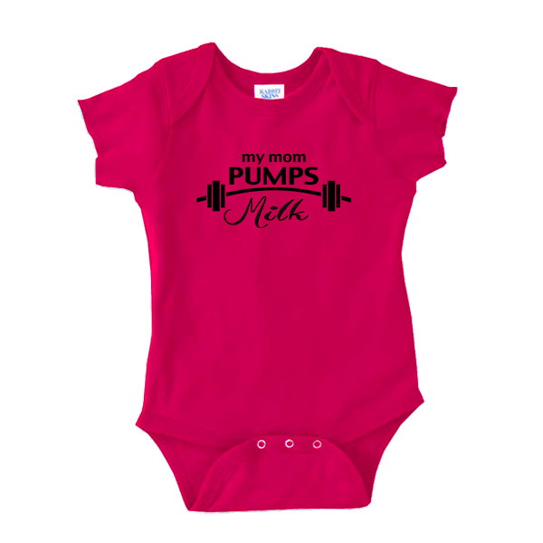 Adorable onesie 'My mom pumps milk'