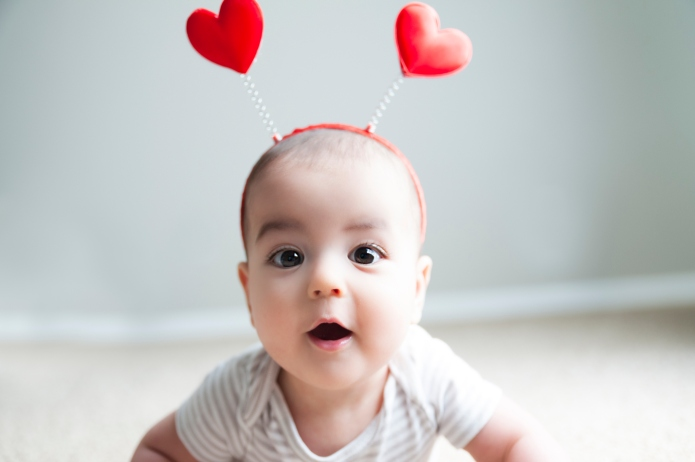 7 month old baby models hearts