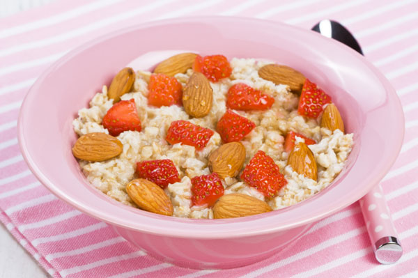 Oatmeal with nuts and berries.