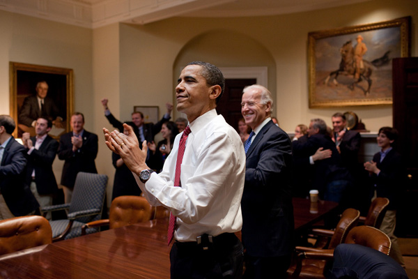 President Obama celebrating the passing of the Affordable Healthcare Act in 2010