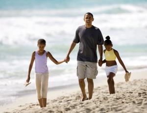 President Obama and the girls take a walk