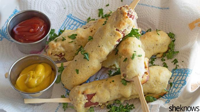 Make-ahead homemade baked corn dogs are