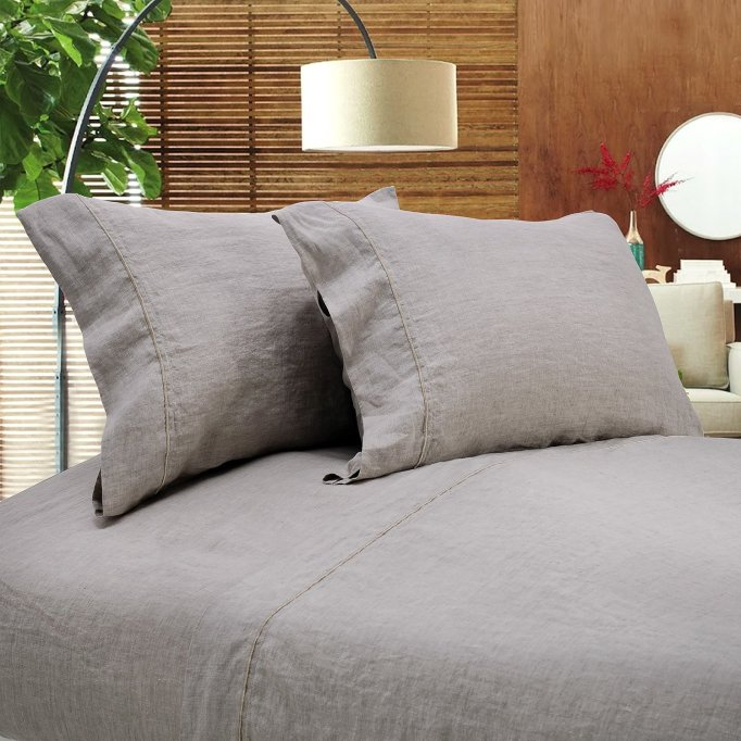 Simple&Opulence linen embroidery solid sheet set