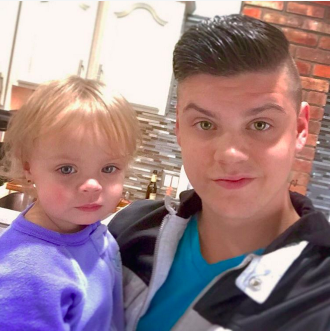 Tyler Baltierra and his daughter, Novalee Reign