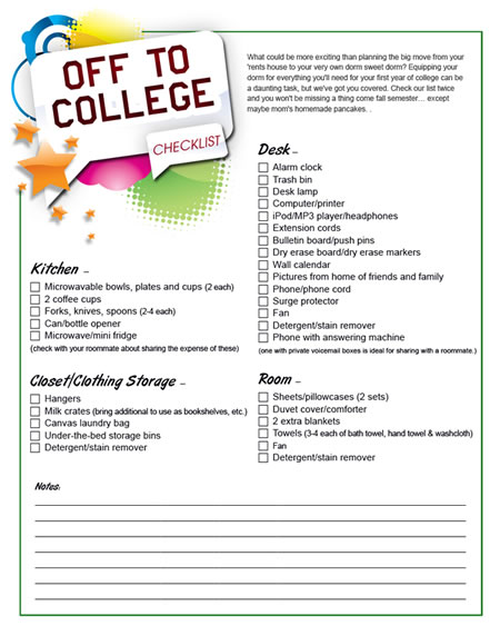 Printable College Dorm Shopping List Sheknows