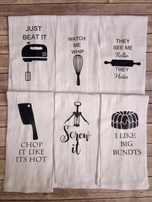Song lyric tea towels from Etsy
