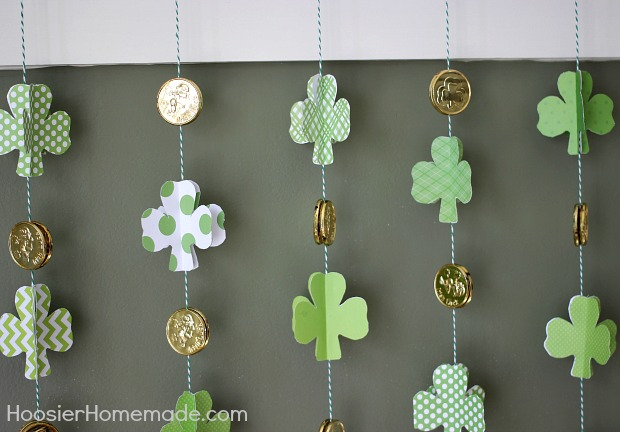 DIY shamrock garland with gold coins