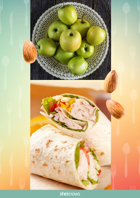 Turkey wrap with a side of apples and almonds