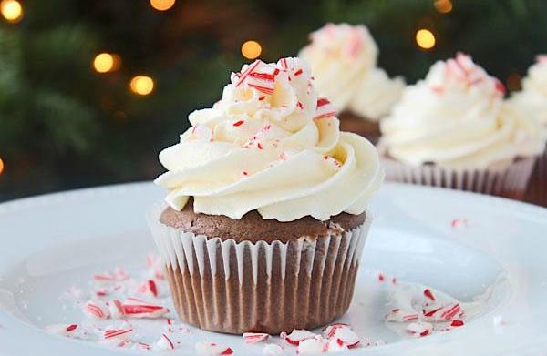 Double chocolate mocha cupcakes with peppermint