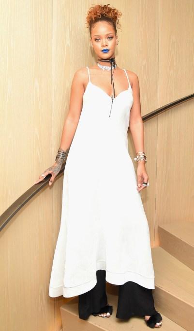 Rihanna blue lipstick and white dress
