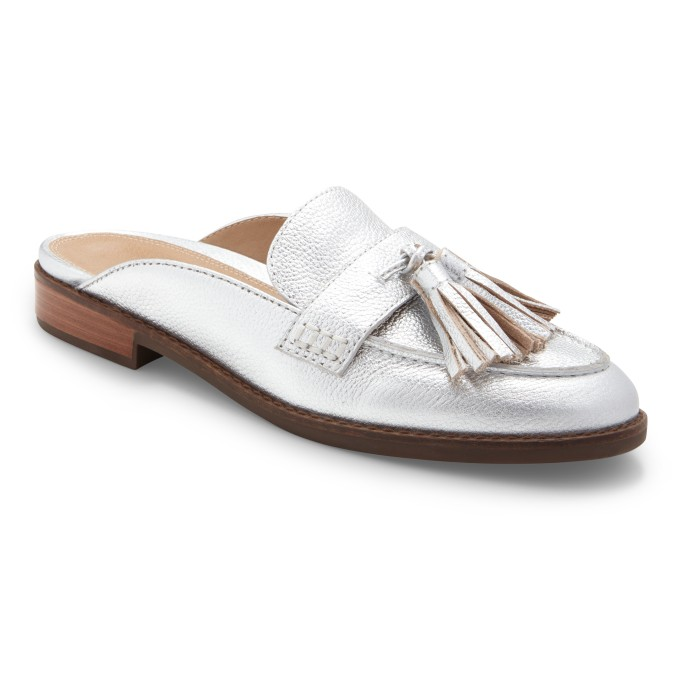 Silver loafer mule with tassels