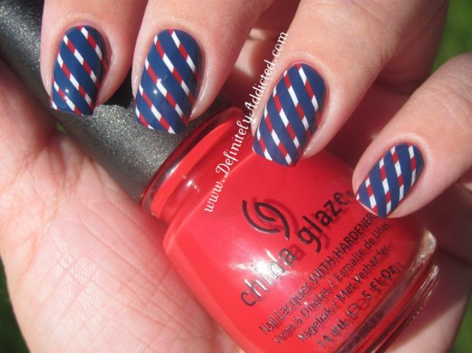 Creative striped nail design for the 4th of July