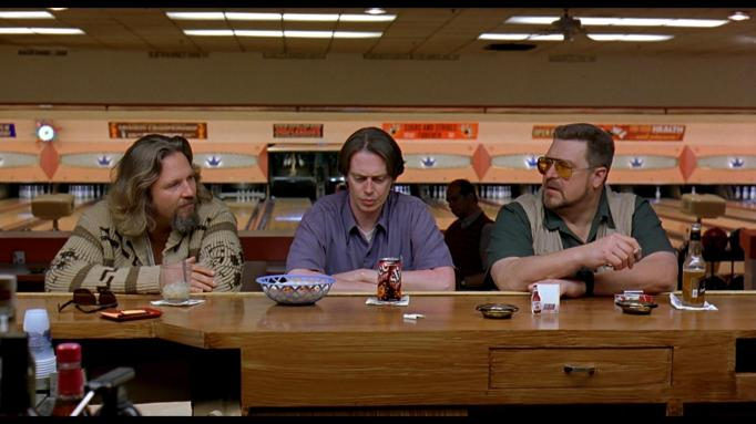 The Dude has drinks at the bowling alley