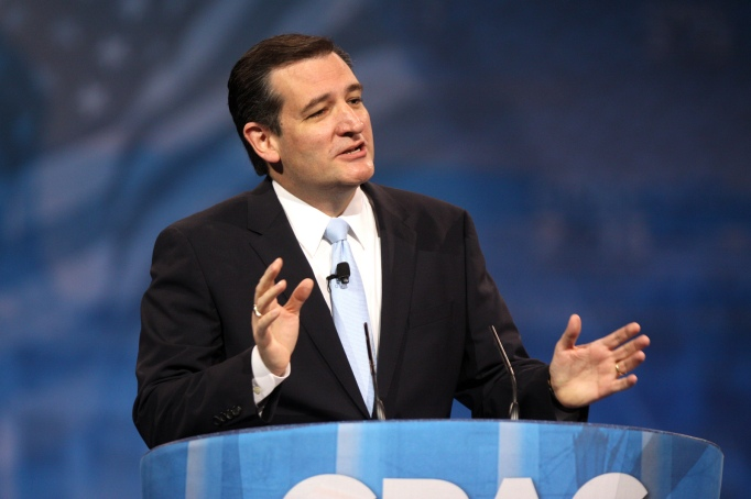 Senator Ted Cruz of Texas speaking at the 2013 CPAC in National Harbor, Maryland, introducing Sarah Palin.