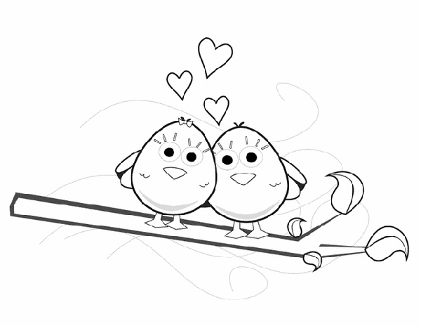 Spring love birds coloring page