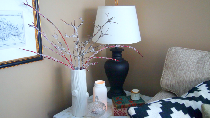 Icy-looking branches for winter decor that