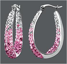 Kaleidoscope Sterling Silver Earrings, Pink and White Crystal Hoop Earrings with Swarovski Elements