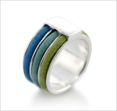 sterling silver waxed cotton ring.