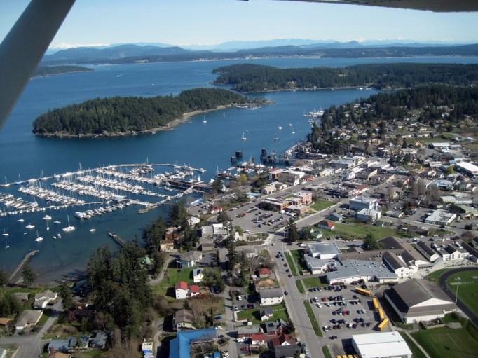 Overhead shot of Friday Harbor, Washington