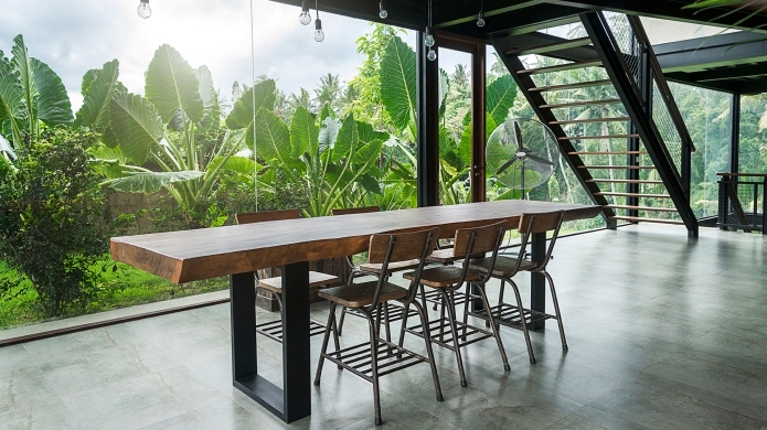modern wooden table in contemporary design