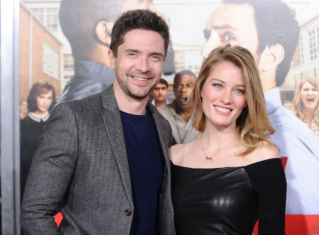 Topher Grace and Ashley Hinshaw attend the premiere of 'Fist Fight'