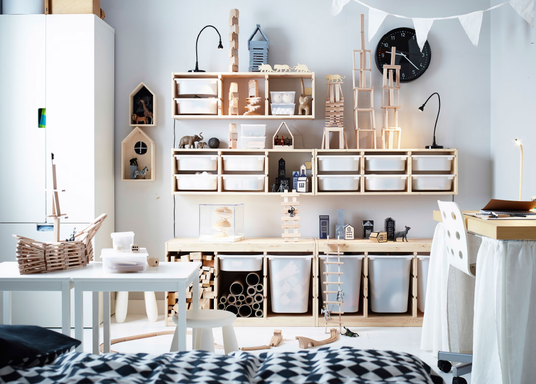 children's room featuring open, organized shelving