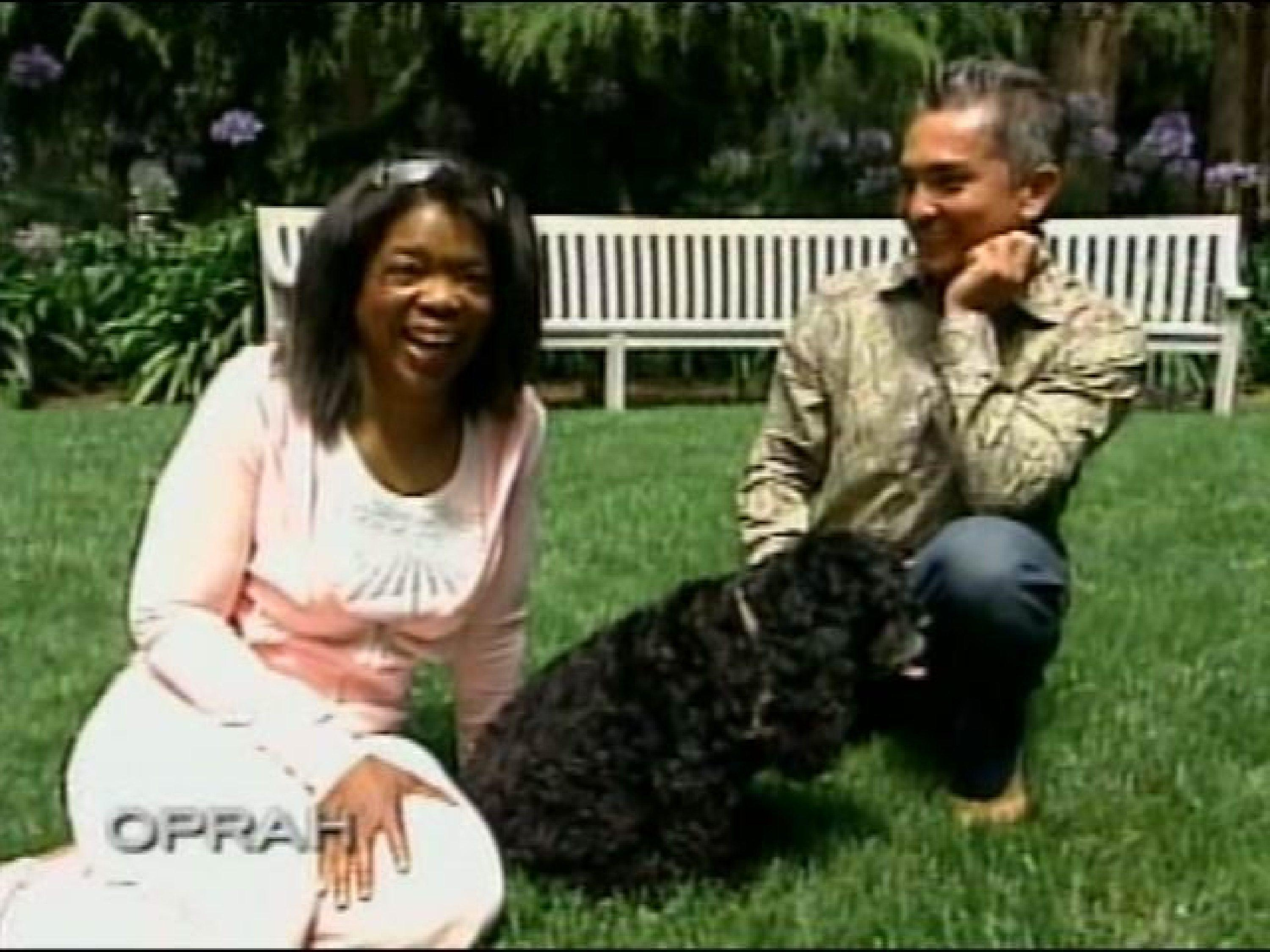 Oprah Winfrey with her dogs in 2006