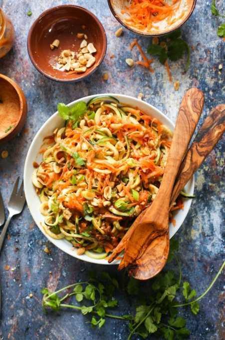 Raw Peanut Zoodle Salad