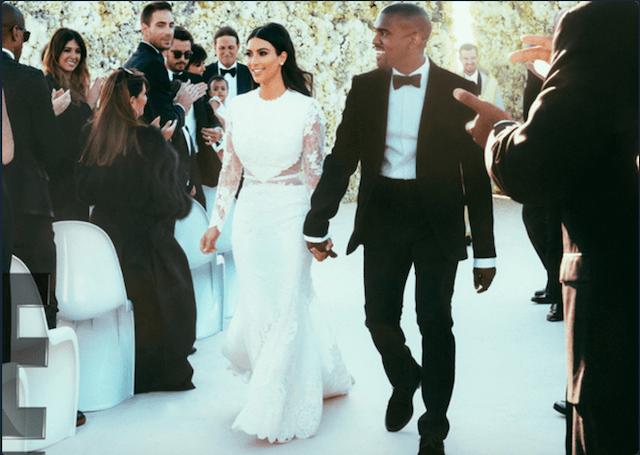 Kim Kardashian West walking down the aisle with husband Kanye West