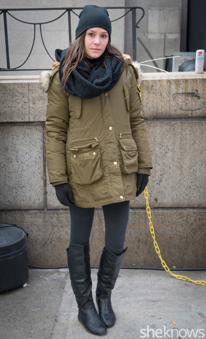 Bebe jacket, Juicy Couture hat, Macy's boots