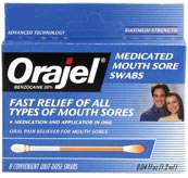 Orajel Mouth Swabs help treat a canker sore