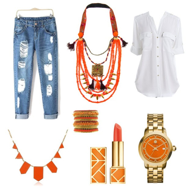 Orange accessories outfit