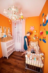 No One Says The Entire Nursery Has To Be Just Color Paint An Accent Wall In A Darker Hue Of Your Primary Infants See Contrast Dark And