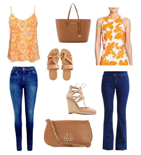 Orange patterned top outfit