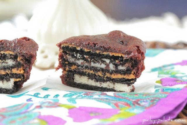 Oreo peanut butter brownie cakes