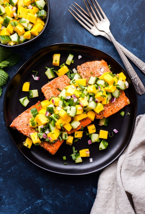 Grilled salmon with mango cucumber mint salsa from Recipe Runner