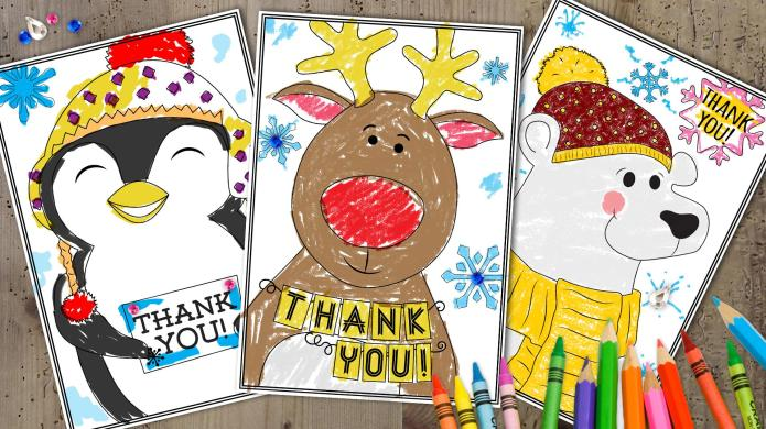 3 Printable holiday 'thank you' cards