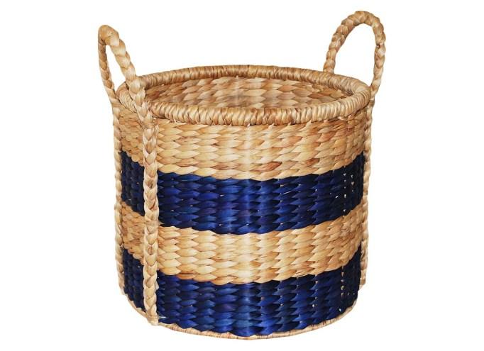 "Decorative 12"" Brown/Blue Basket"