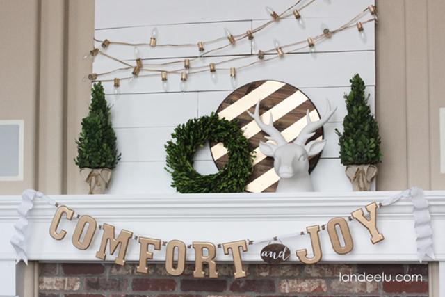 """Comfort and joy"" fireplace mantel decor"