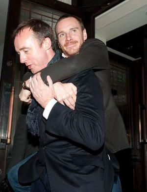 Michael Fassbender gets carried out of