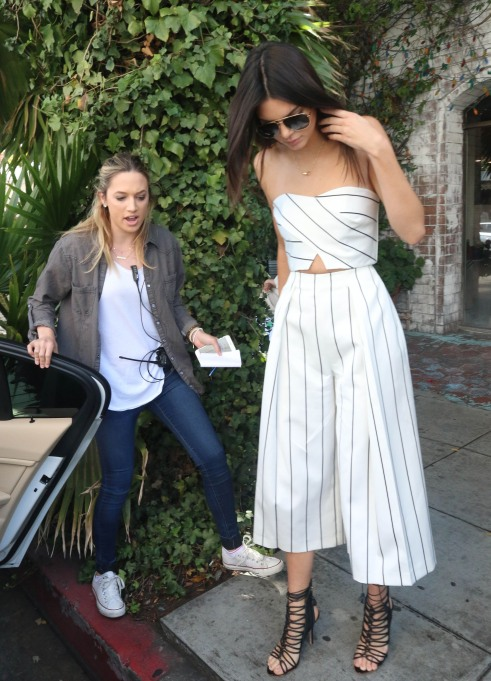 Kendall Jenner white striped culottes
