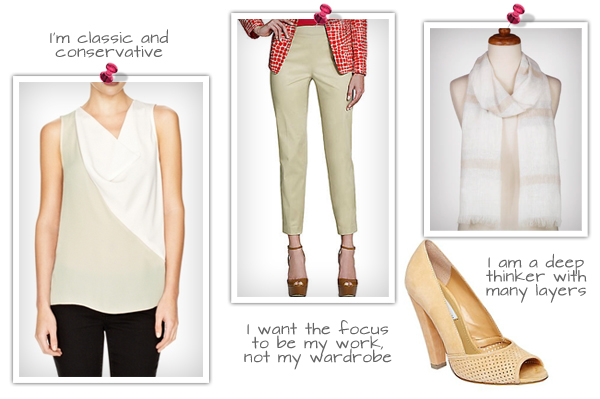 Cowl Neck White and Cream Top (thelimited.com, $45), Jones New York Cropped Beige Pant (lordandtaylor.com, $89), Blush Suede Heels (stevemadden.com, $90), Striped Linen and Lurex Scarf (worldmarket.com, $10)